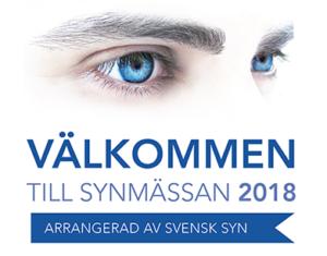 Ögon med text: VÄLKOMMEN TILL SYNMÄSSAN 2018